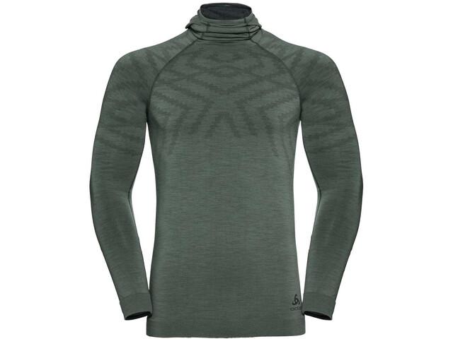 Odlo Natural + Kinship LS Shirt with Facemask Men, agave green melange
